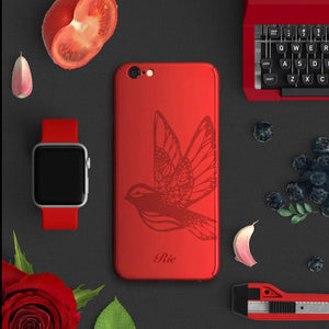Bird full protection iPhone red case red-038 | 【360°全面保護強化ガラスフィルム付き】iPhone / 7+ / SE / 6s / 6s+ /5s ケース 赤 038 - Decouart