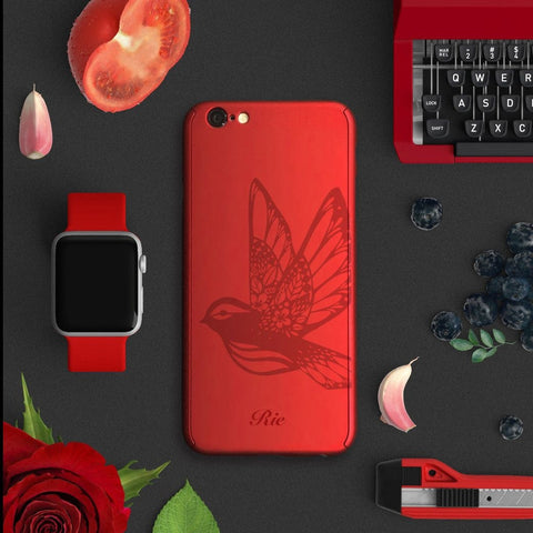 Bird full protection iPhone 7 plus red case red-038 | 【360°全面保護強化ガラスフィルム付き】iPhone 7 / 7+ / SE / 6s / 6s+ /5s ケース 赤 038 - Decouart
