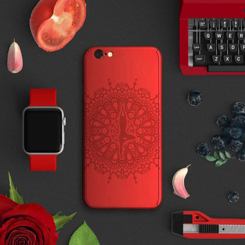 Yoga full protection iPhone 7 plus red case red tree pose | 【360°全面保護強化ガラスフィルム付き】iPhone 7 / 7+ / SE / 6s / 6s+ /5s ケース red-yogatree - Decouart