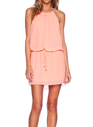 Saylor Coral Halter Dress