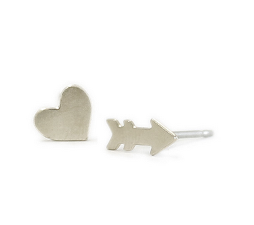 Kris Nations Silver Heart & Arrow Studs