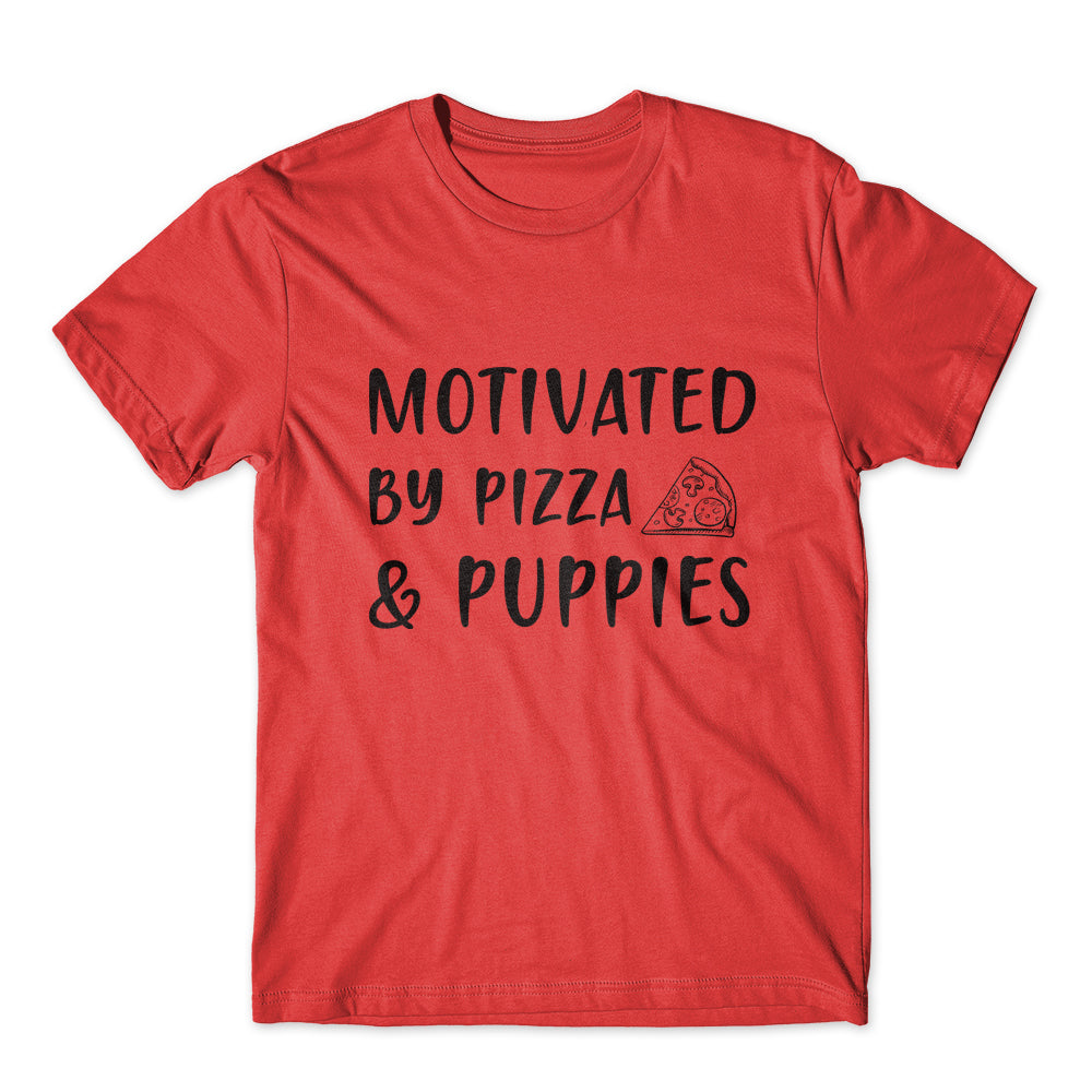 Motivated By Pizza & Puppies T-Shirt 100% Cotton Premium Tee