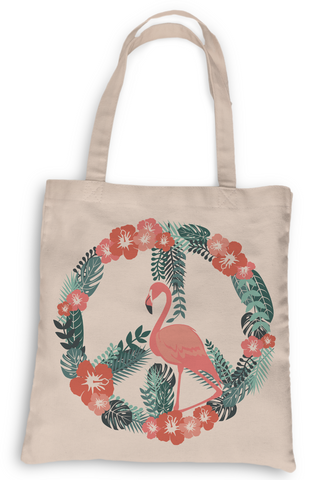 Flamingo Peace Tote, Grocery Tote, Book Tote, Office Tote, 100% Cotton Fun Tote
