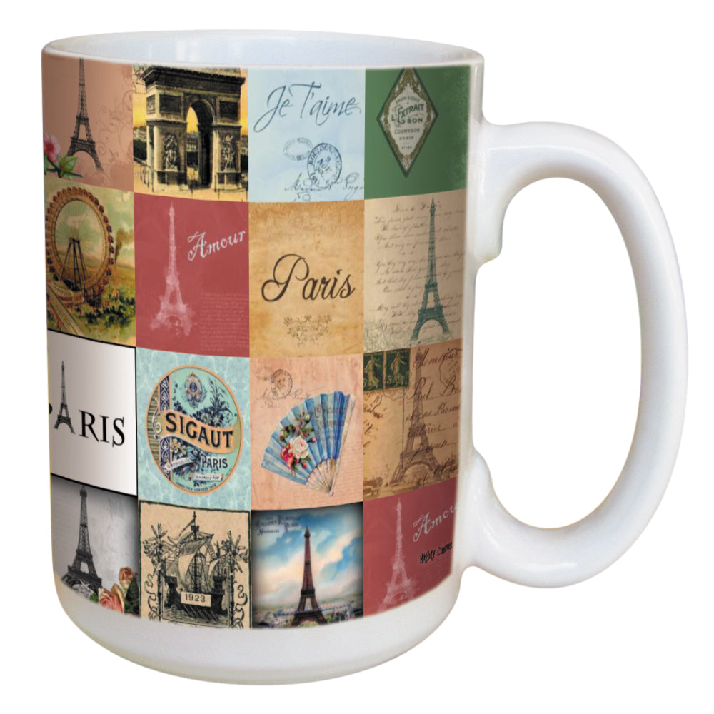 Paris Coffee Mug Large 15 Ounce Ceramic Mug