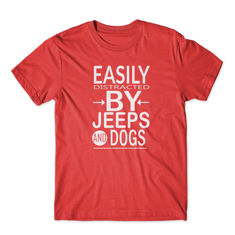 Easily Distracted By Jeeps & Dogs T-Shirt 100% Cotton Premium Tee