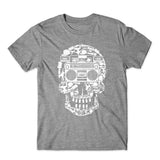 Boombox Skull Music T-Shirt 100% Cotton Premium Tee NEW