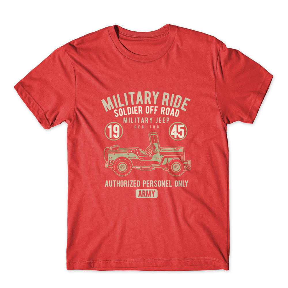 Military Ride Soldier Jeep T-Shirt 100% Cotton Premium Tee NEW