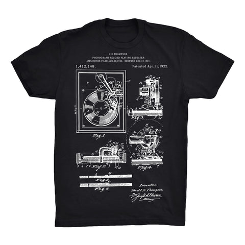 Record Player Patent 100% Cotton Premium T-Shirt