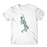 Tennis Player Balls Drawing T-Shirt 100% Cotton Premium Tee NEW