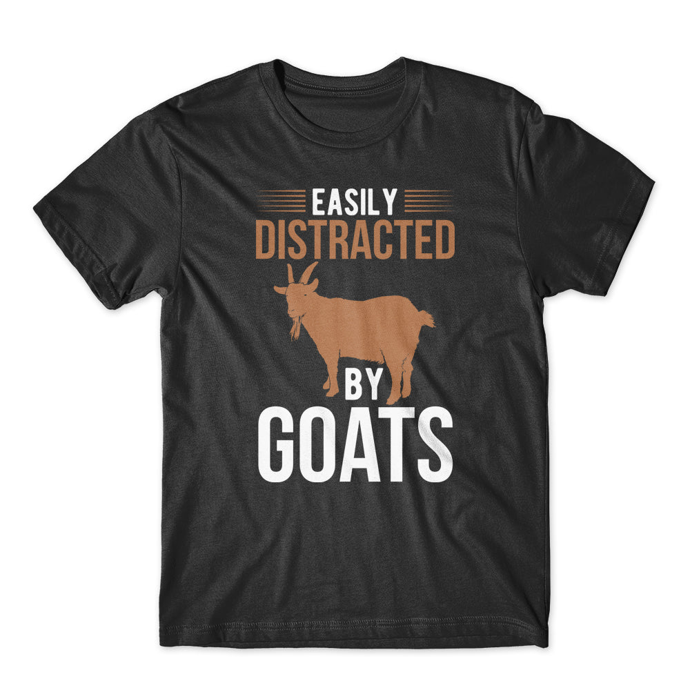 Easily Distracted by Goats T-Shirt 100% Cotton Premium Tee