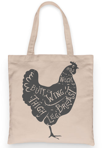 "Cute Chicken Tote 100% Cotton Fun Grocery Tote, Book Tote. Premium Cotton Canvas 15.5"" by 19.5 "" with 5"" Gusset, Cuts of Meat Butcher Chart"
