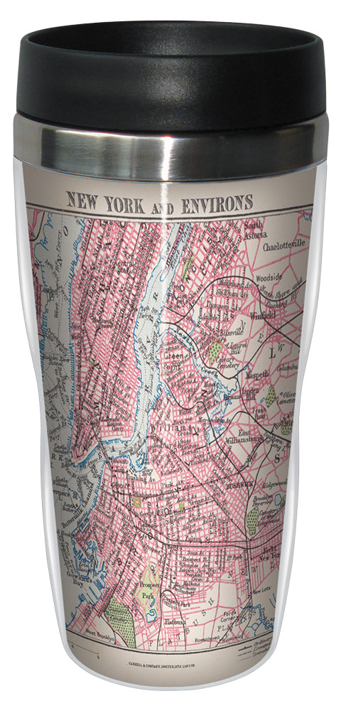 New York City Vintage Map 16 Ounce Travel Mug