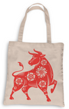 Year of the Ox Tote, Grocery Tote, Book Tote, Office Tote, 100% Cotton Fun Tote