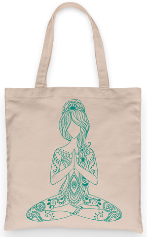 "Yoga Namaste Tote 100% Cotton Fun Grocery Tote, Book Tote, Office Tote. Premium Cotton Canvas 15.5"" by 19.5 "" with 5"" Gusset on bottom"