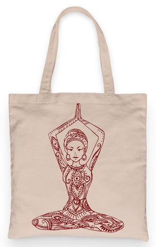 "Yoga  Bodhi Tote 100% Cotton Fun Grocery Tote, Book Tote, Office Tote. Premium Cotton Canvas 15.5"" by 19.5 "" with 5"" Gusset on bottom"