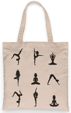 "Yoga Pose Silhouettes Tote 100% Cotton Grocery Tote, Book Tote, Office Tote. Premium Cotton Canvas 15.5"" by 19.5 "" with 5"" Gusset on bottom"
