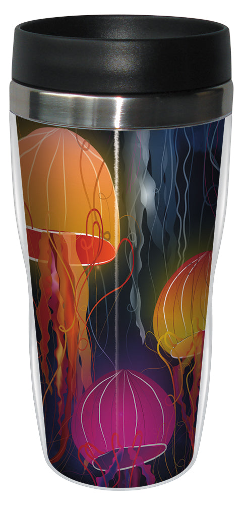 Rainbow Jellyfish 16 Ounce Travel Mug