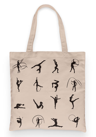 "Gymnastics Tote 100% Cotton Fun Grocery Tote, Book Tote, Office Tote. Premium Cotton Canvas 15.5"" by 19.5 "" with 5"" Gusset on bottom"