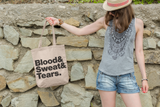 Blood Sweat & Tears Tote, Grocery Tote, Book Tote, Office Tote, 100% Cotton Tote