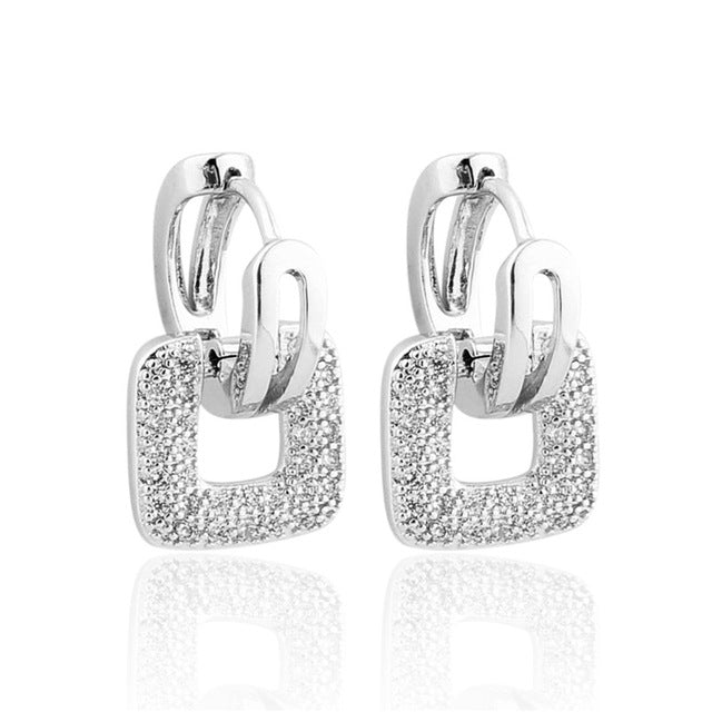 gold zoom wide shaped diamond pave white square set back earrings screw stud