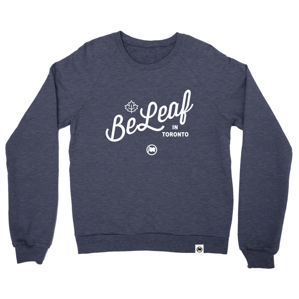 BeLeaf Unisex French Terry Crewneck (Heather Navy) - LOYAL to a TEE