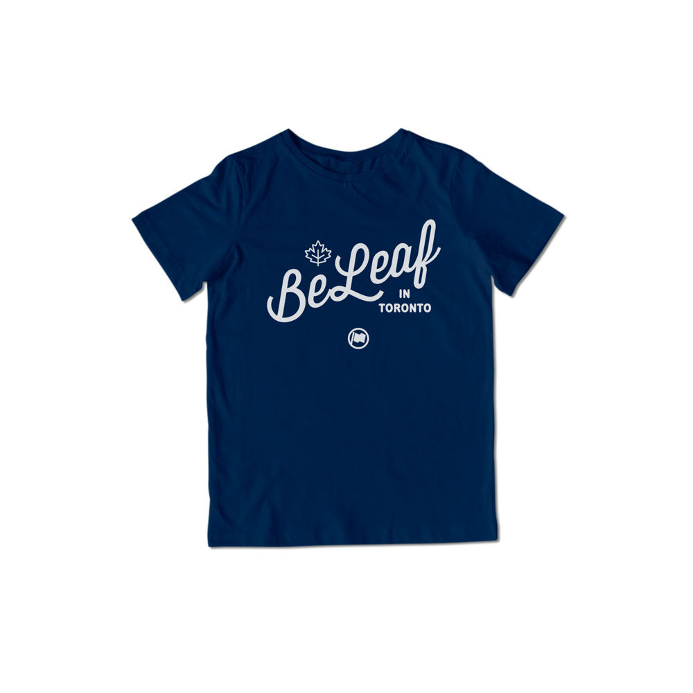 BeLeaf Unisex Kids Tee (Navy) - LOYAL to a TEE
