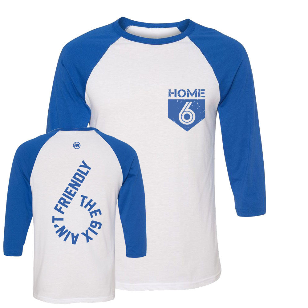 6 is Home Unisex 3/4 Sleeve Tee (White/Blue) - LOYAL to a TEE