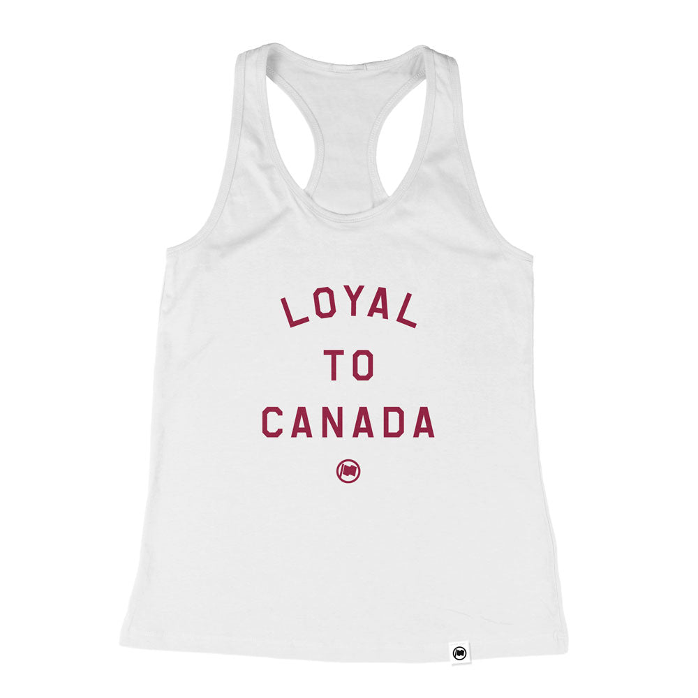 LOYAL to CANADA Women's Racerback Tank (White Triblend) - LOYAL to a TEE