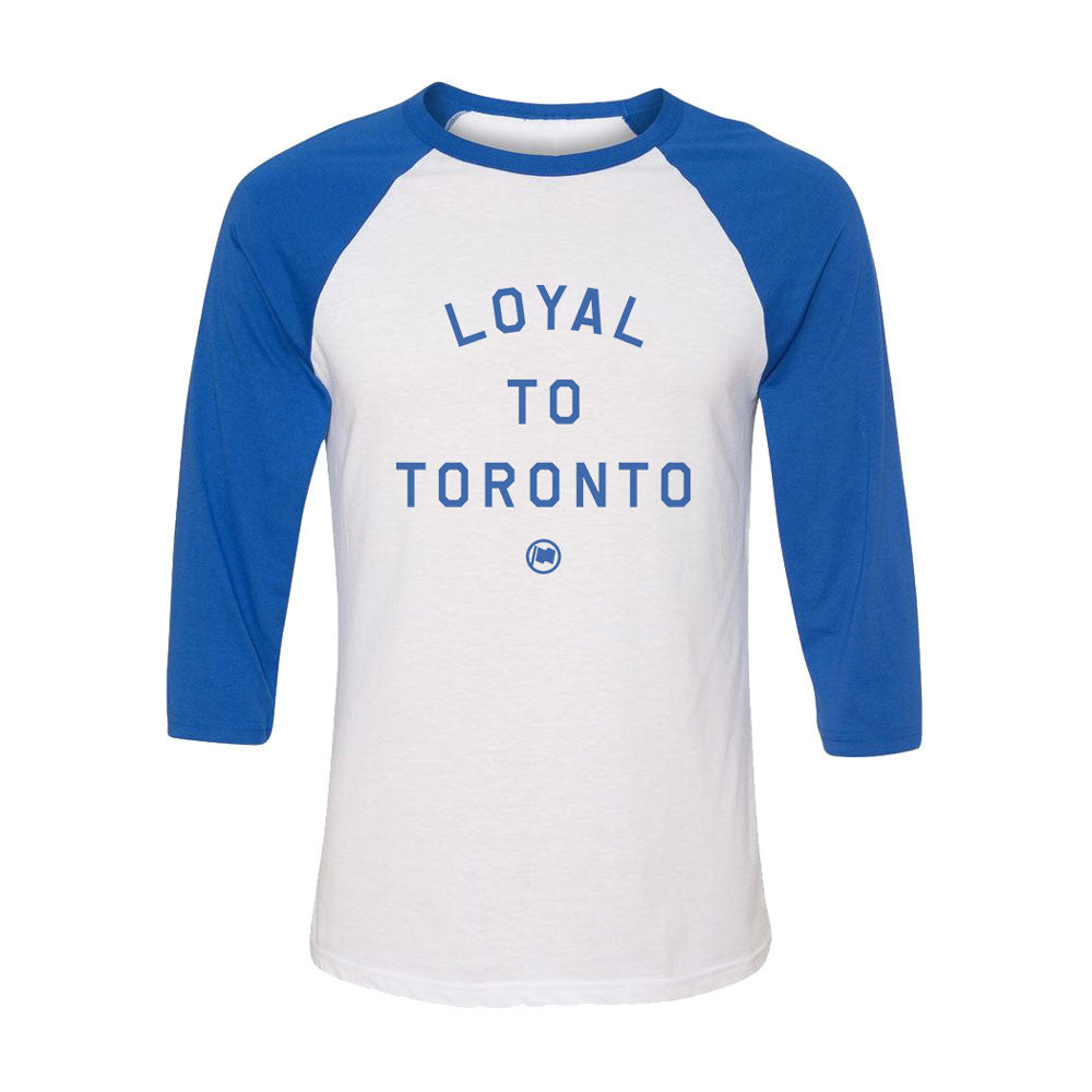 LOYAL to TORONTO Unisex 3/4 Sleeve Tee (White/Blue) - LOYAL to a TEE