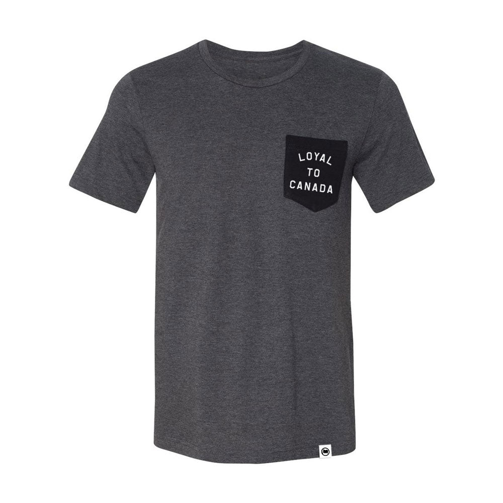 LOYAL to CANADA Unisex Pocket Tee (Charcoal Heather/Black) - LOYAL to a TEE