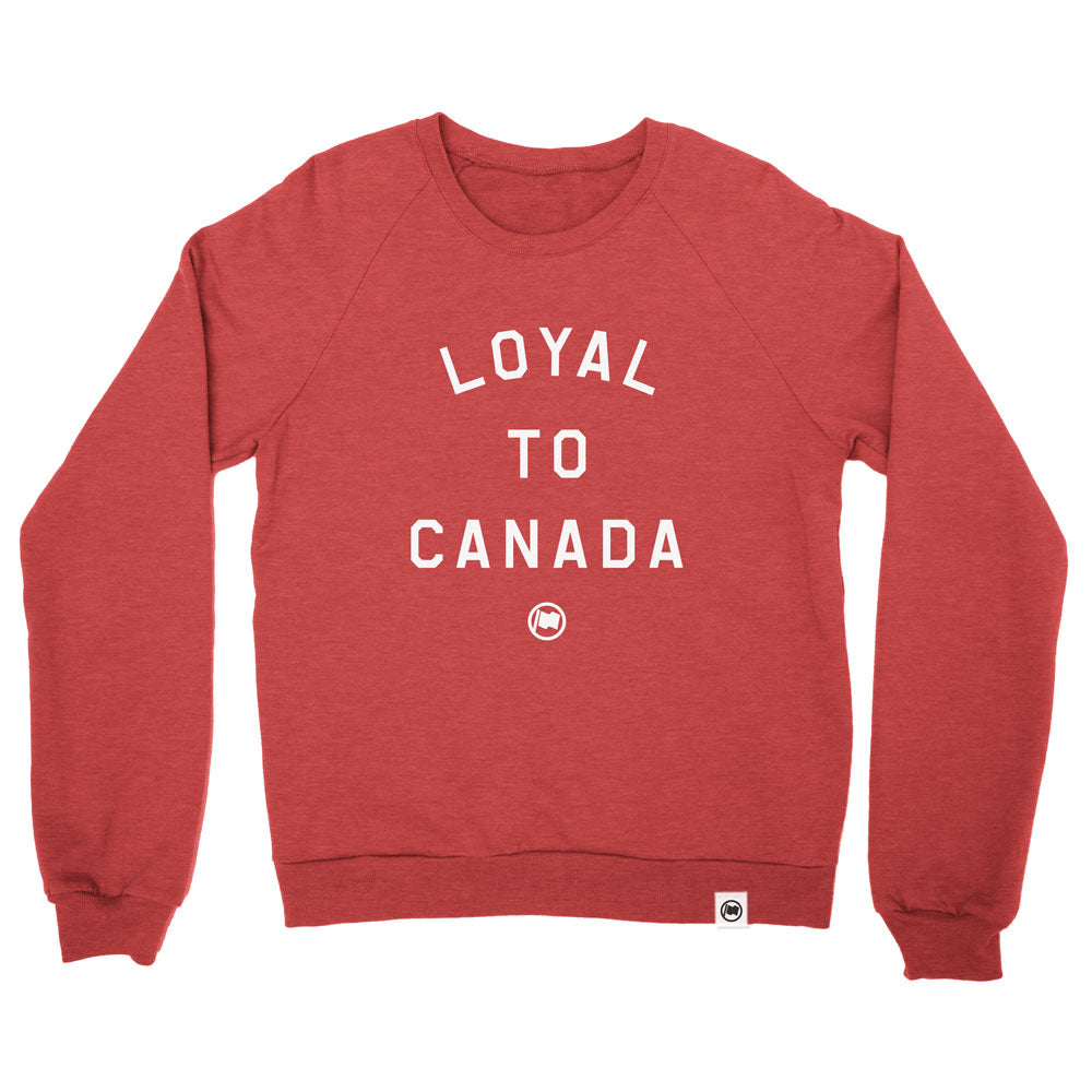 LOYAL to CANADA Unisex French Terry Crewneck (Heather Red) - LOYAL to a TEE