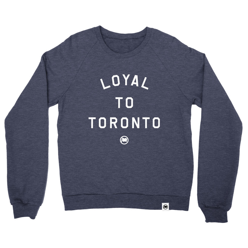 LOYAL to TORONTO Unisex French Terry Crewneck (Heather Navy) - LOYAL to a TEE