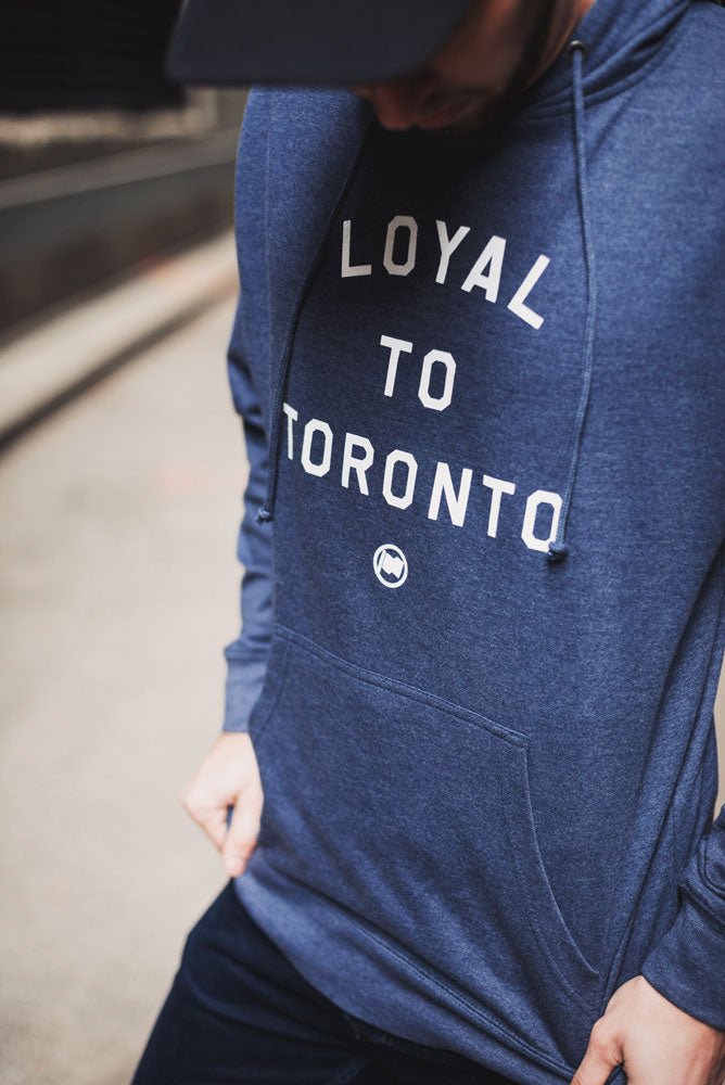 LOYAL to TORONTO Unisex French Terry Hoodie (Heather Navy) - LOYAL to a TEE