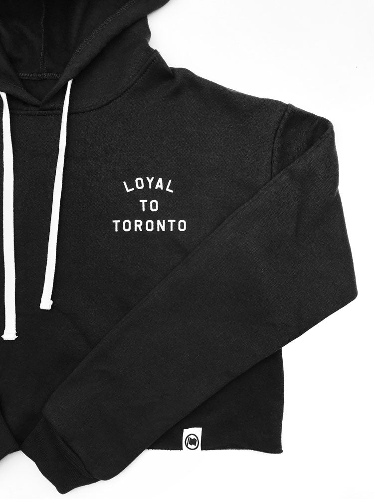 LOYAL to TORONTO Pocket Women's Cropped Hoodie (Black) - LOYAL to a TEE