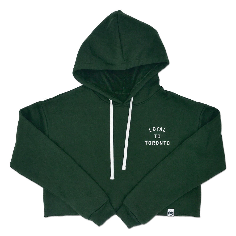 LOYAL to TORONTO Pocket Women's Cropped Hoodie (Forest Green) - LOYAL to a TEE