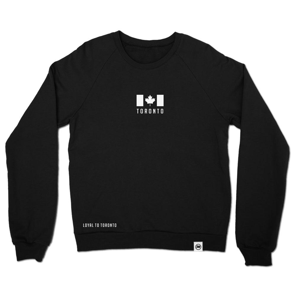 Toronto Flag Embroidered Unisex French Terry Crewneck (Black) - LOYAL to a TEE