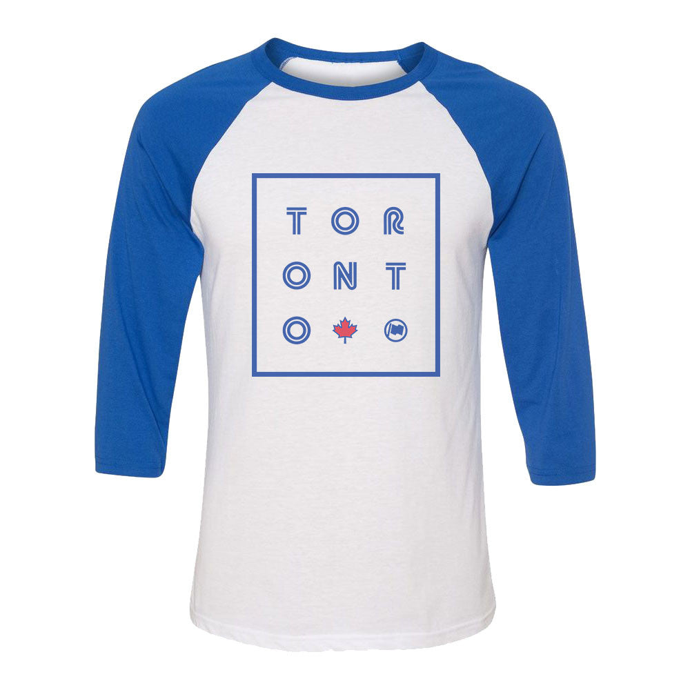 TORONTO Unisex 3/4 Sleeve Tee (White/Blue) - LOYAL to a TEE