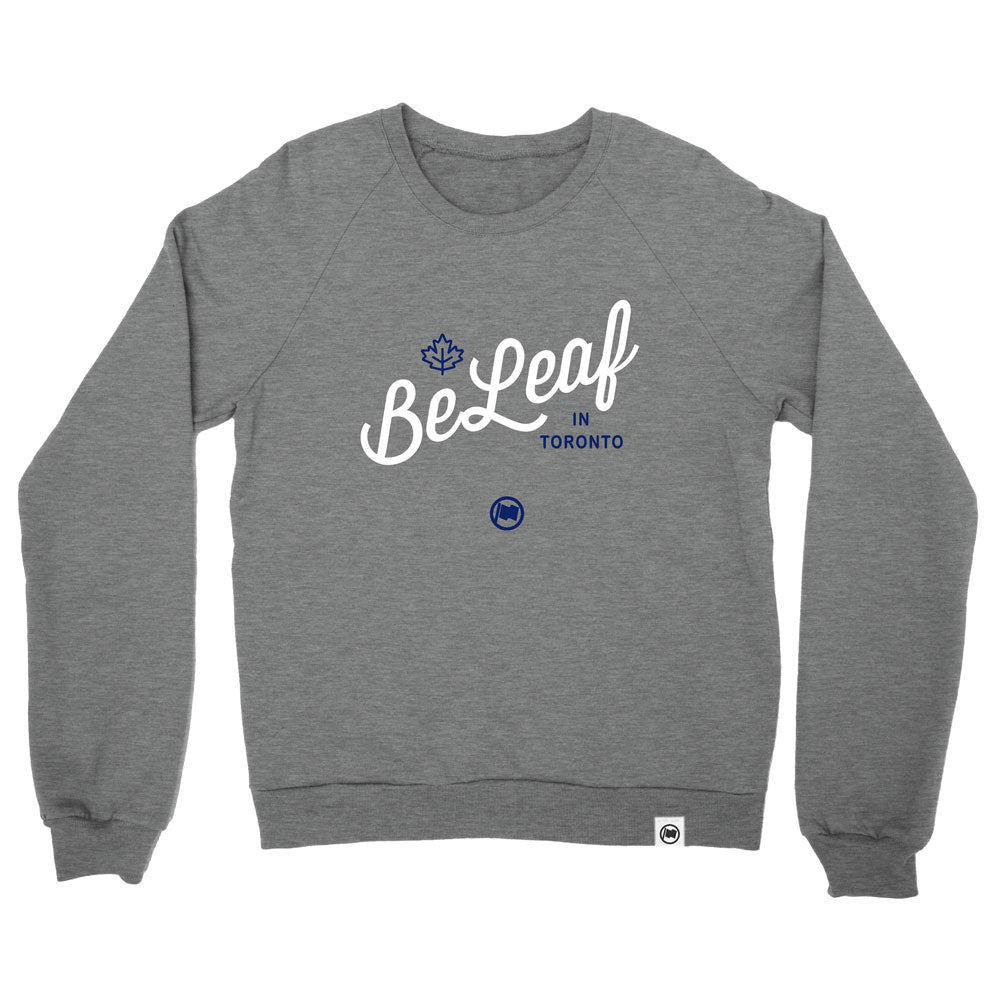 BeLeaf Unisex French Terry Crewneck (Heather Grey) - LOYAL to a TEE