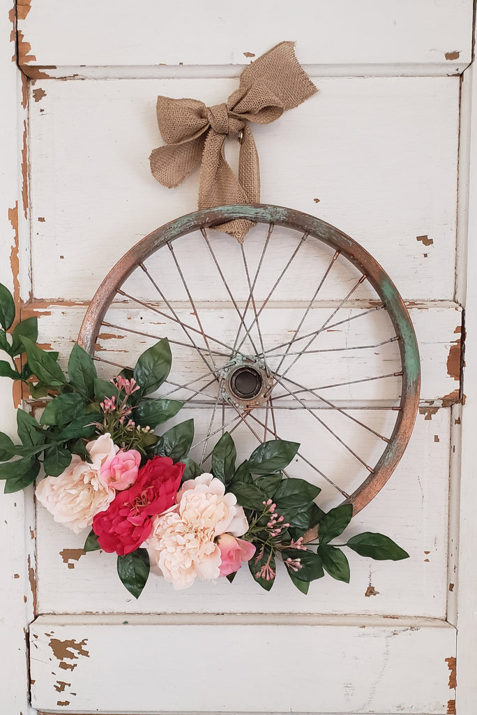 Pink Peony Bicycle Wreath