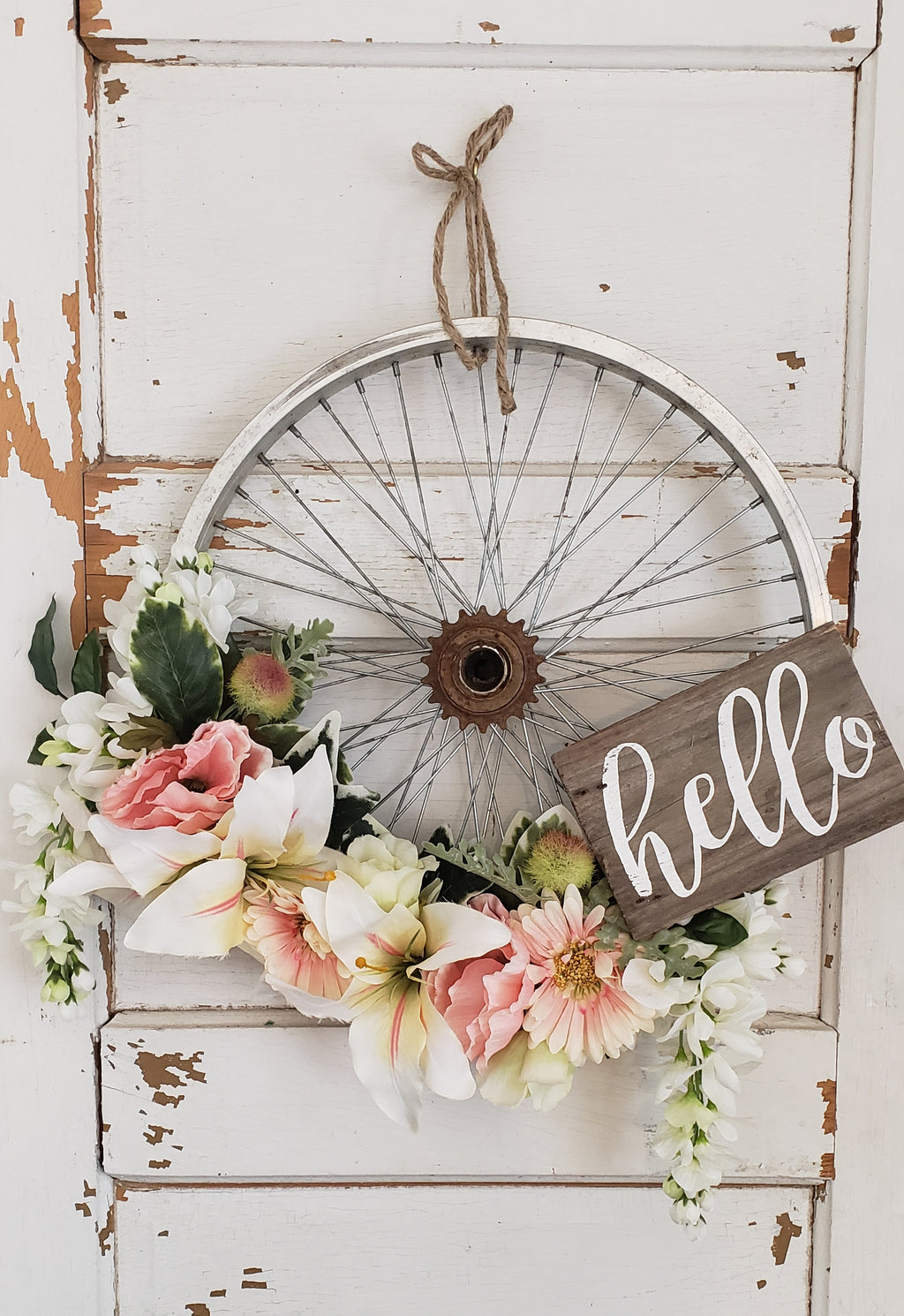 White Lily Bicycle Wreath