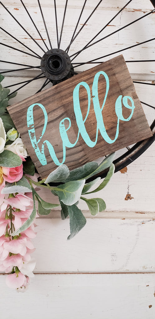 Turquoise 'hello' Wreath Sign