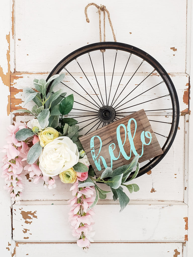 Black Bicycle Wheel Wreath