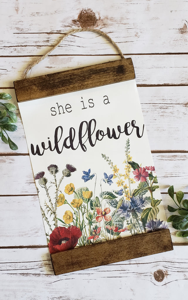 She is a Wildflower Cotton Canvas Sign