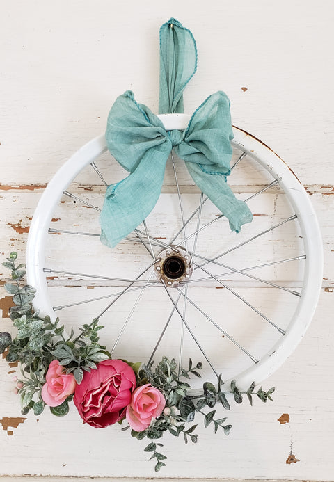 Small Pink Peony Bicycle Wreath