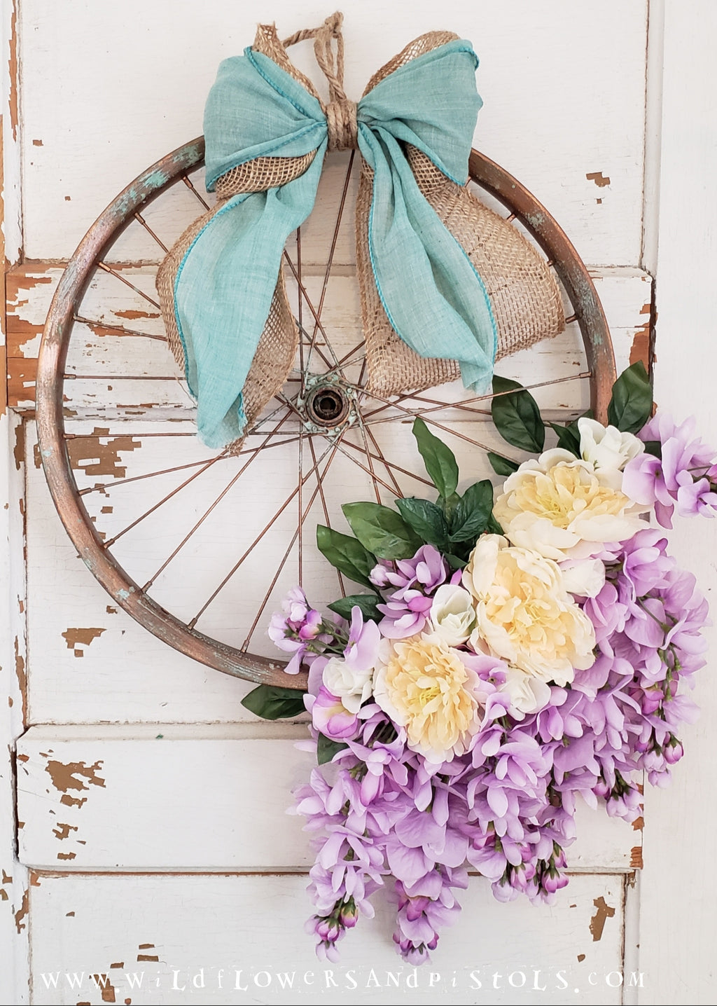 Purple Wisteria Bicycle Wreath