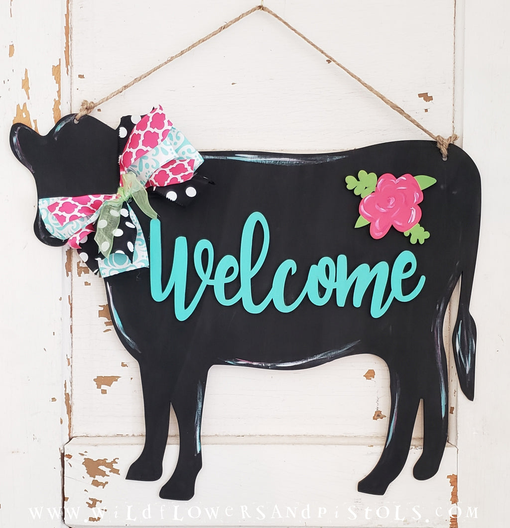 Cow 'Welcome' Door Hanger