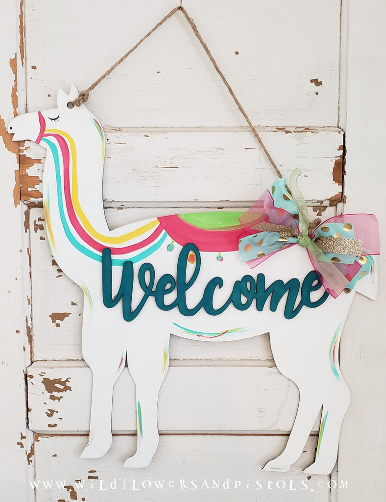 Llama 'Welcome' Door Hanger