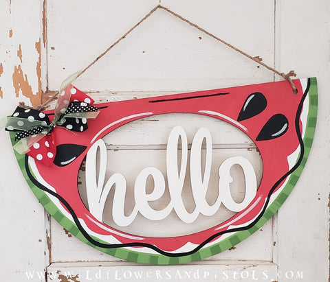 'Hello' Watermelon Door Hanger