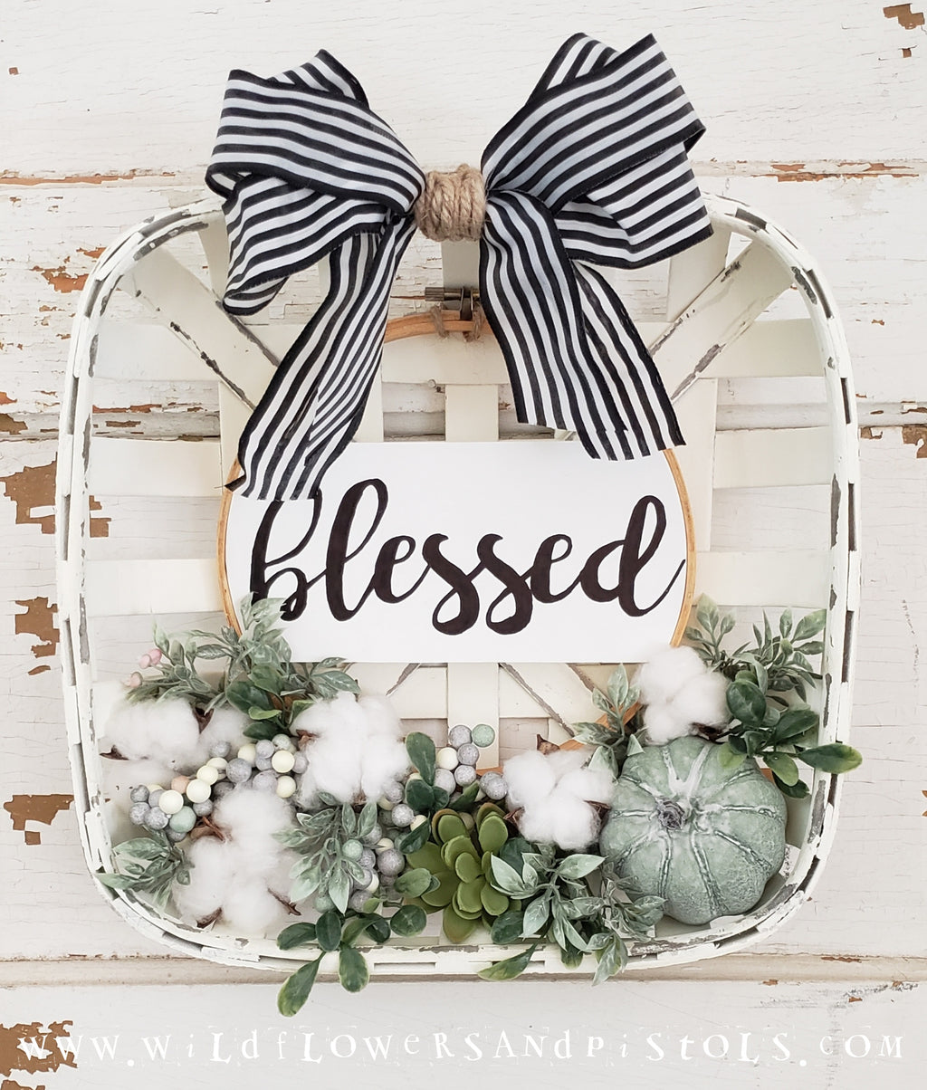 'Blessed' Fall Tobacco Basket Wreath