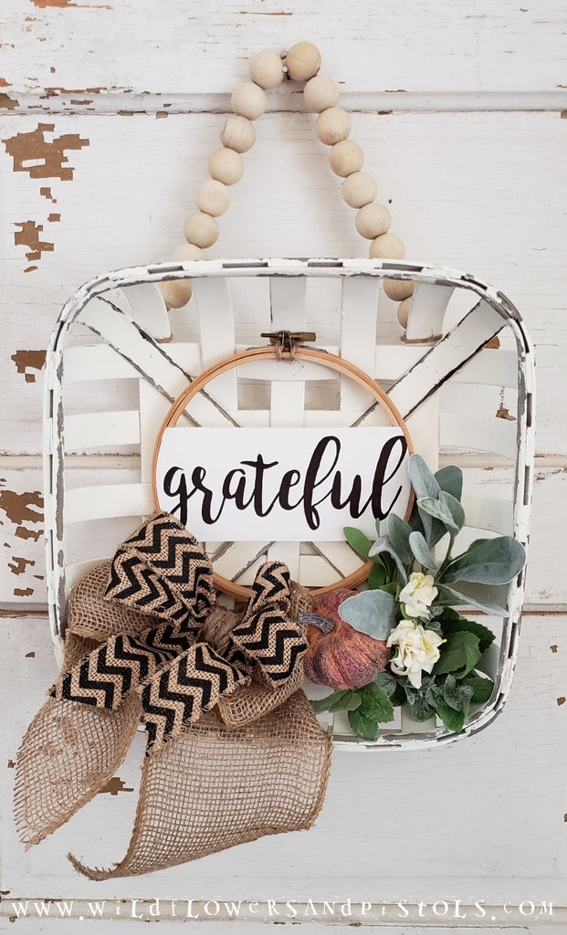 'Grateful' Tobacco Basket Wreath